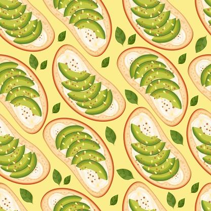 Bruschetta with avocado. White bread sandwiches seamless pattern. Vector food illustration.