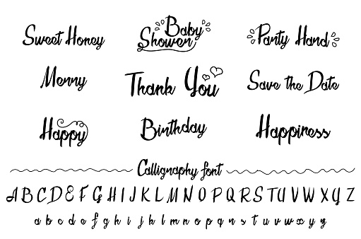 Brush And Ink Typeface Collection Stock Vector Art & More