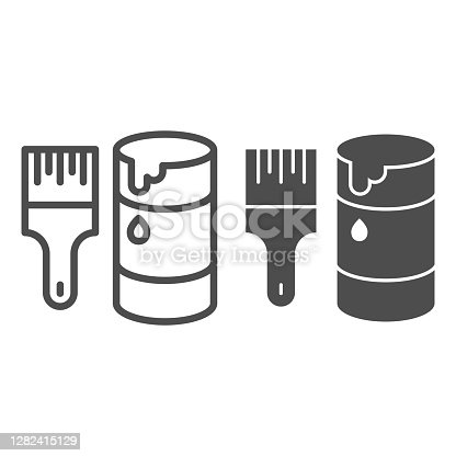 istock Brush and paint can line and solid icon, repair concept, painting tools sign on white background, open jar with paint and paint brush icon in outline style for mobile concept. Vector graphics. 1282415129