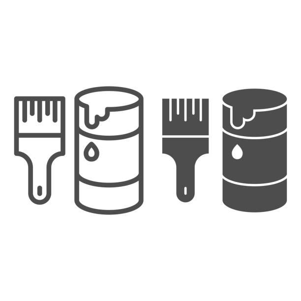 stockillustraties, clipart, cartoons en iconen met de borstel en de verf kunnen lijn en stevig pictogram, reparatieconcept, het schilderen hulpmiddelen ondertekenen op witte achtergrond, open kruik met verf en het pictogram van de verfborstel in overzichtsstijl voor mobiel concept. vectorafbeeldingen. - stekels