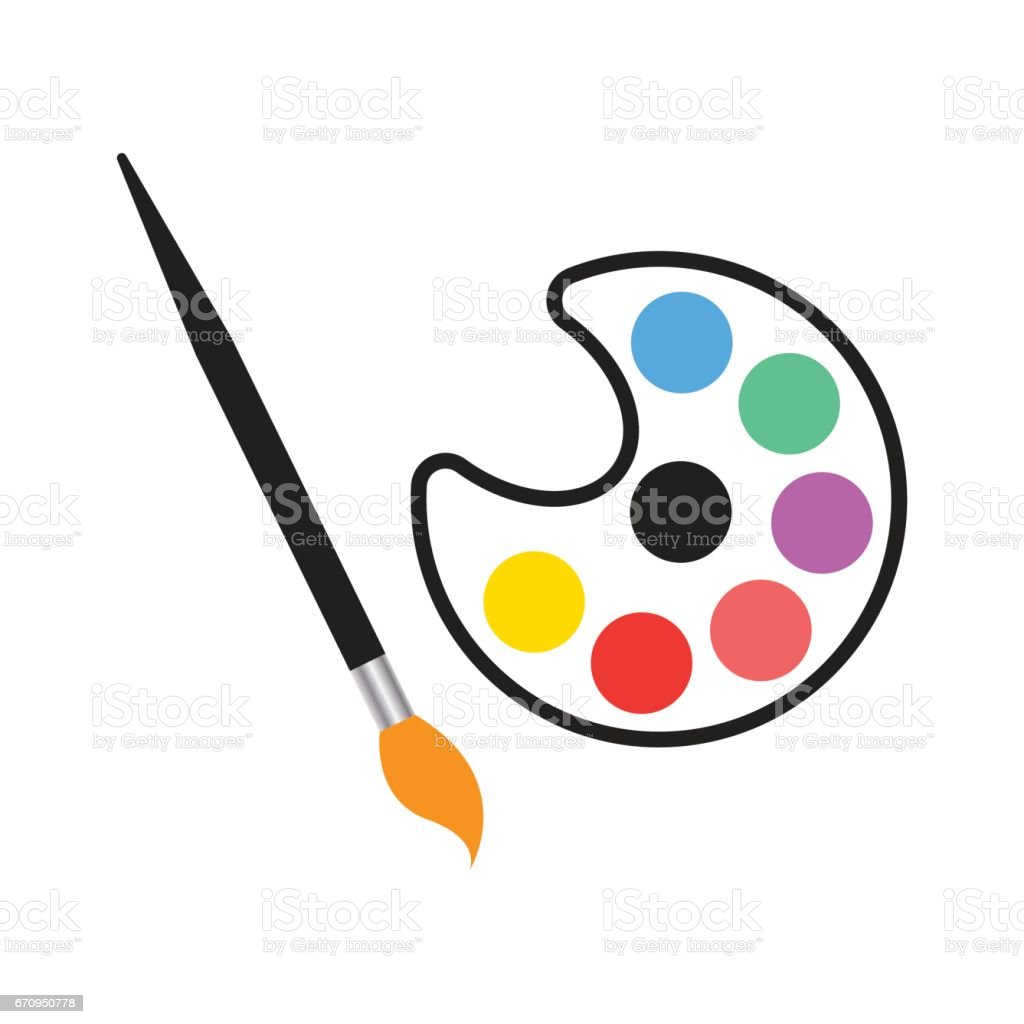 brush and palette icon isolated vector vector art illustration