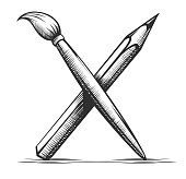 Brush and pencil. Artist tools for drawing. Art symbol. Instrument for artist and graphic Hand drawn emblem with shading and contour lines, Isolated on white background. Eps10 vector illustration.