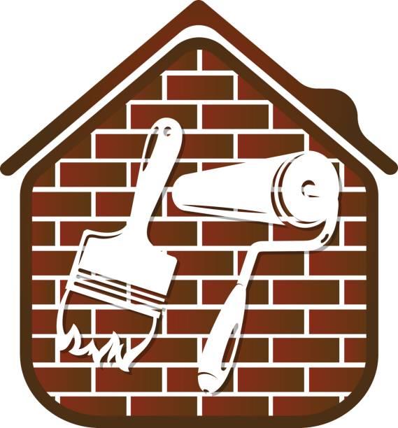 illustrations, cliparts, dessins animés et icônes de brush and roller for painting vector - logo peintre en batiment