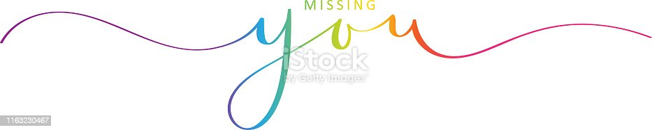 Vector brush calligraphy banner MISSING YOU with swashes
