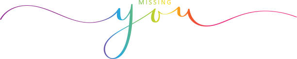 MISSING YOU brush calligraphy banner Vector brush calligraphy banner MISSING YOU with swashes loneliness stock illustrations