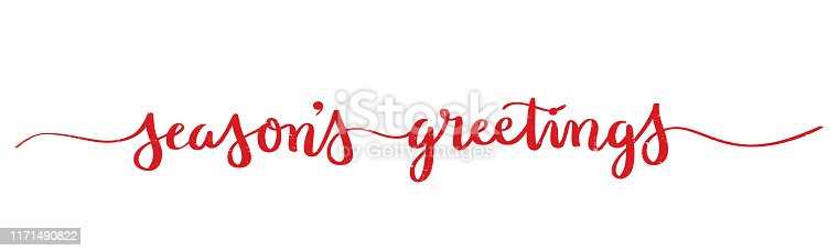 SEASON'S GREETINGS red vector brush calligraphy banner