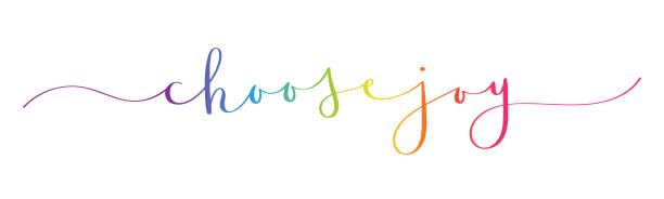 ilustrações de stock, clip art, desenhos animados e ícones de choose joy brush calligraphy banner - alegria