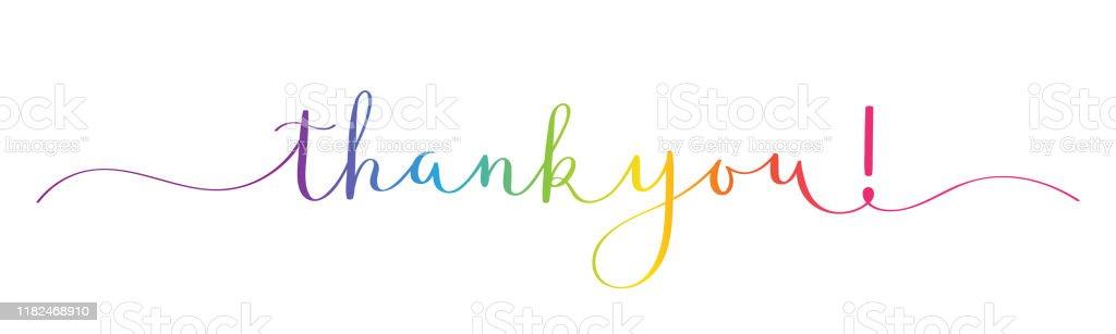 Спасибо! кисть каллиграфии баннер - Векторная графика Thank You - английское словосочетание роялти-фри