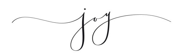 joy brush calligraphy banner - radość stock illustrations