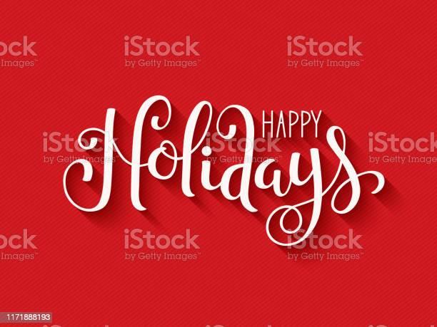 Happy Holidays Кисть Каллиграфии Карты — стоковая векторная графика и другие изображения на тему Баннер - знак