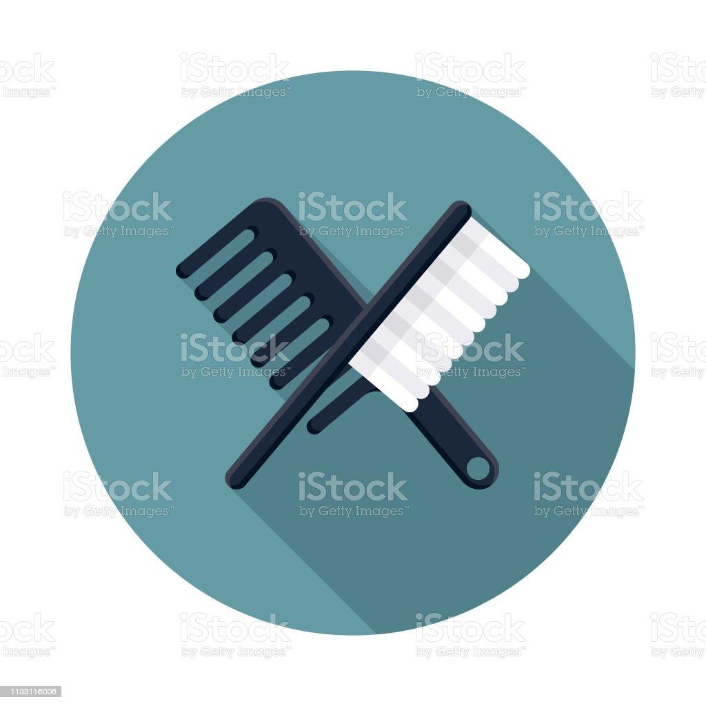 Brush & Comb Hairdressing Icon vector art illustration
