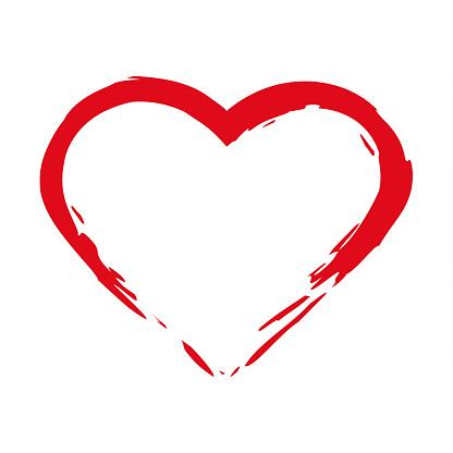 Pinsel Zeichnen Kalligraphie Herz Isoliert Auf Weißem Bg Stock Vektor Art und mehr Bilder von Abstrakt - iStock