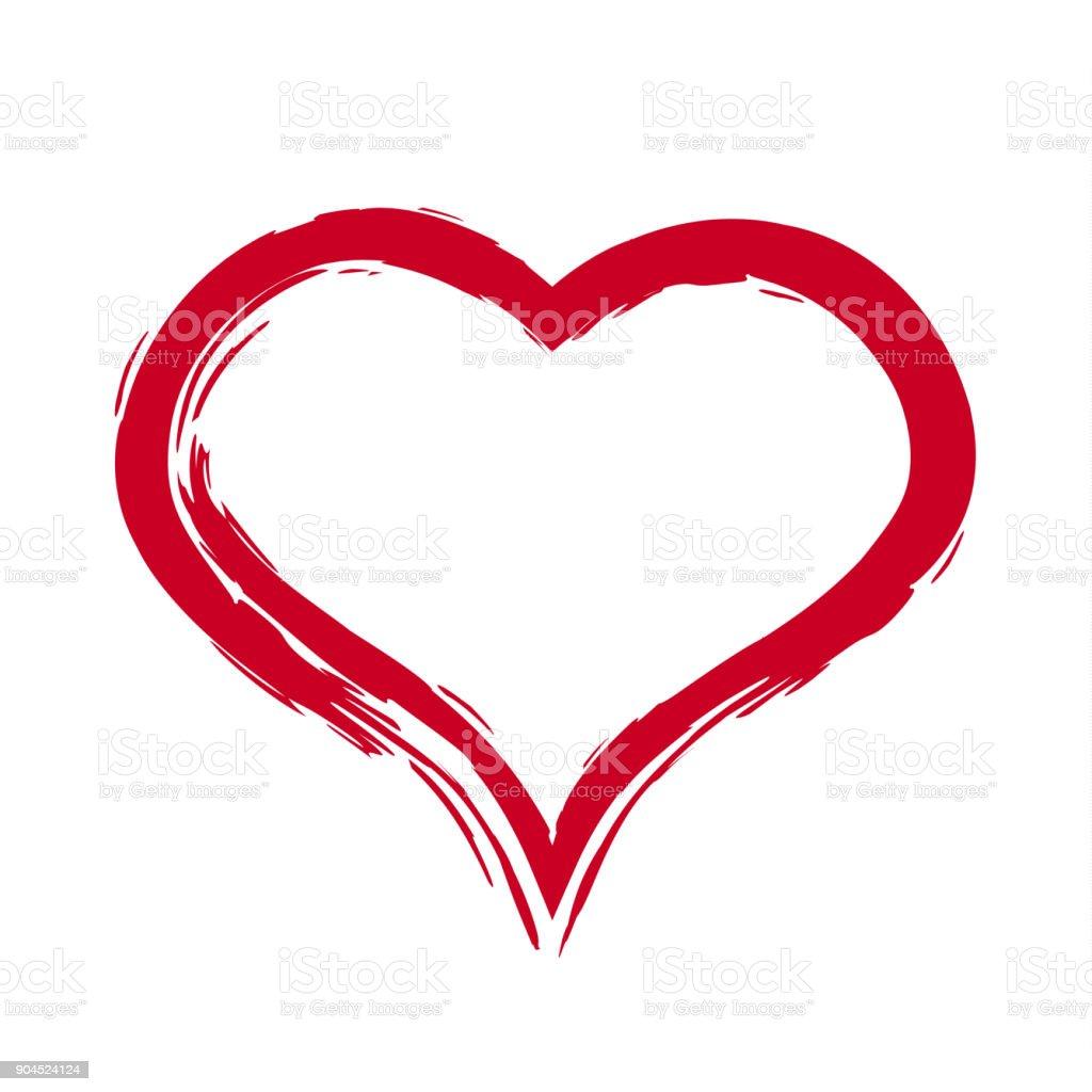Hat üzerinde Beyaz Bg Izole Kalp çizim Fırçası Stok Vektör Sanatı
