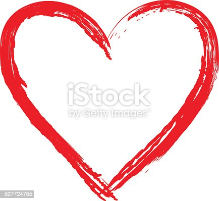 istock Brush drawing calligraphy vector heart 527724755