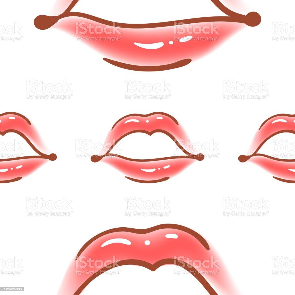 Cepillo dibujado varios mujer labios vector patrón. Formas diferentes de labios sexy. Moda de estilo Doodle, Fondo de cosmetología. Mano abstracto dibujado textura artística. - arte vectorial de Abstracto libre de derechos