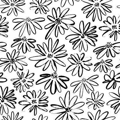 Brush flower vector seamless pattern. Hand drawn botanical ink illustration with floral motif. Camomile or daisy painted by brush.