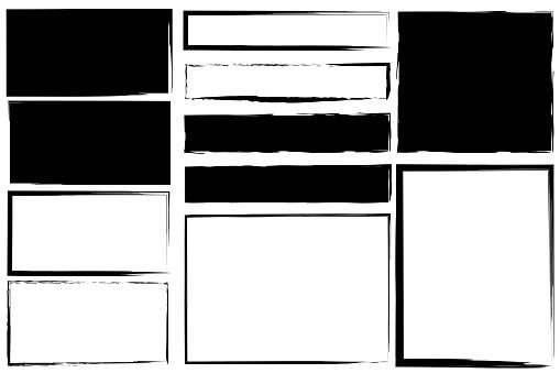 Brush frames. Hand drawn borders. Grunge rectangles. Black rough textures. Vector illustration. Stock photo.