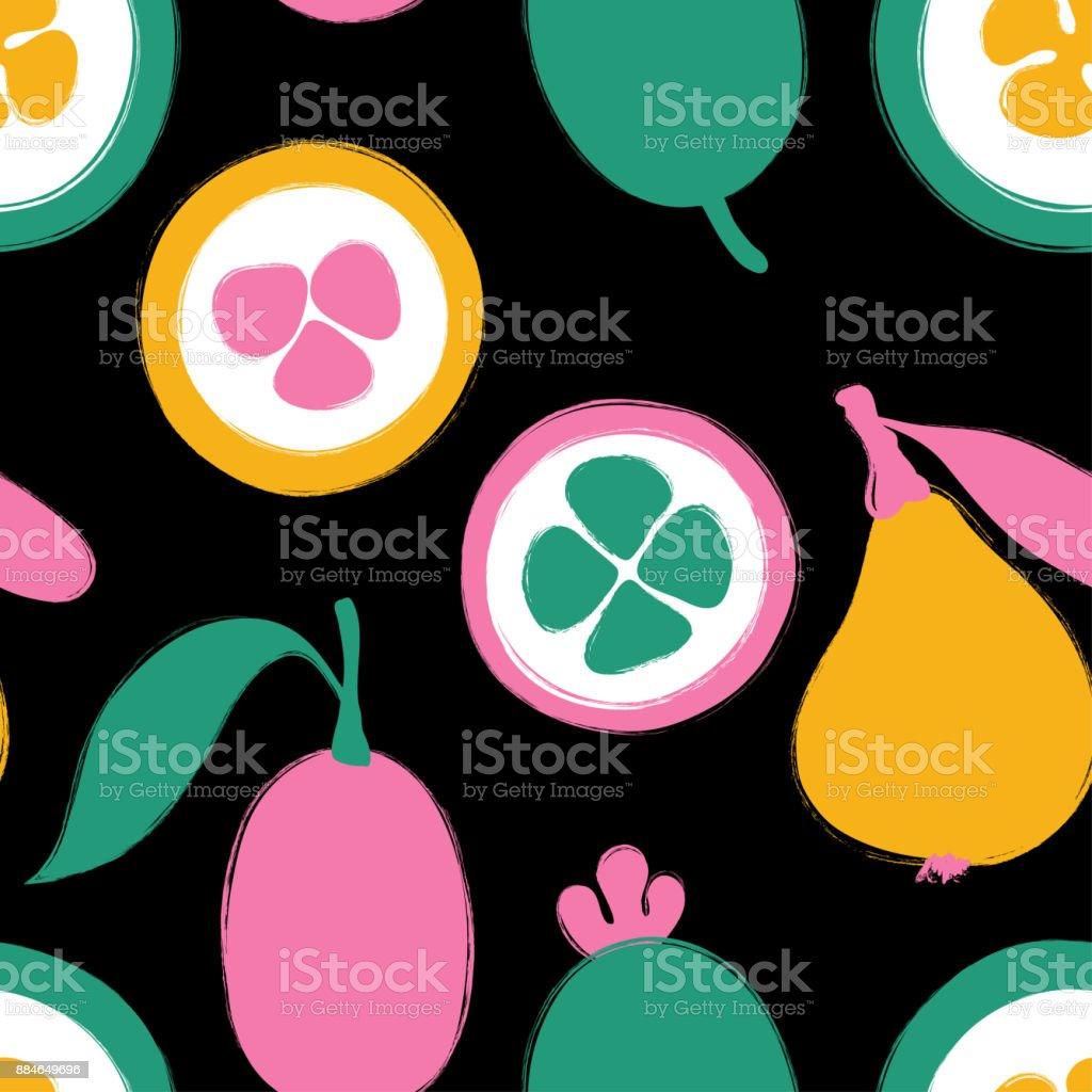 Brush Grunge Exotic Fruits Seamless Pattern. vector art illustration