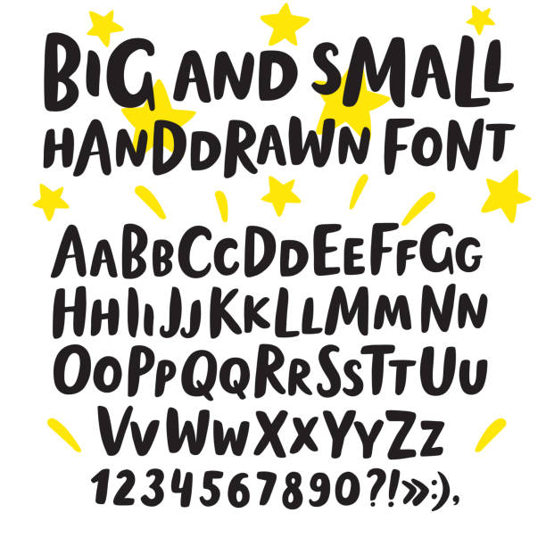 brush hand drawn big and small letters - alphabet drawings stock illustrations