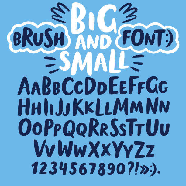Brush hand drawn big and small letters Hand drawn brush ink vector ABC big and small letters set. Doodle decorative font for your design. alphabet drawings stock illustrations