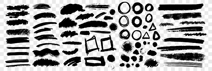 Brush hand drawn underlines, circles, squares set collection. Collection of scribbles brush underlines, circles with squares on transparent background. Pen brush pencil lines with geometric figures.