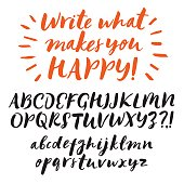 Hand drawn brush ink vector ABC upper and lower case letters set. Doodle comic font for your design.