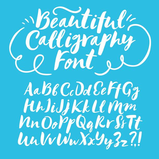brush hand drawn vector font - alphabet drawings stock illustrations