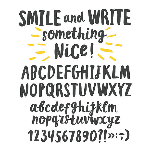 Brush ink upper and lower case letters Hand drawn brush ink vector ABC upper and lower case letters set. Doodle comic font for your design. alphabet drawings stock illustrations