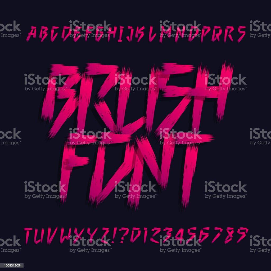 Brush Lettering Alphabet Font Uppercase Brush Stroke Letters
