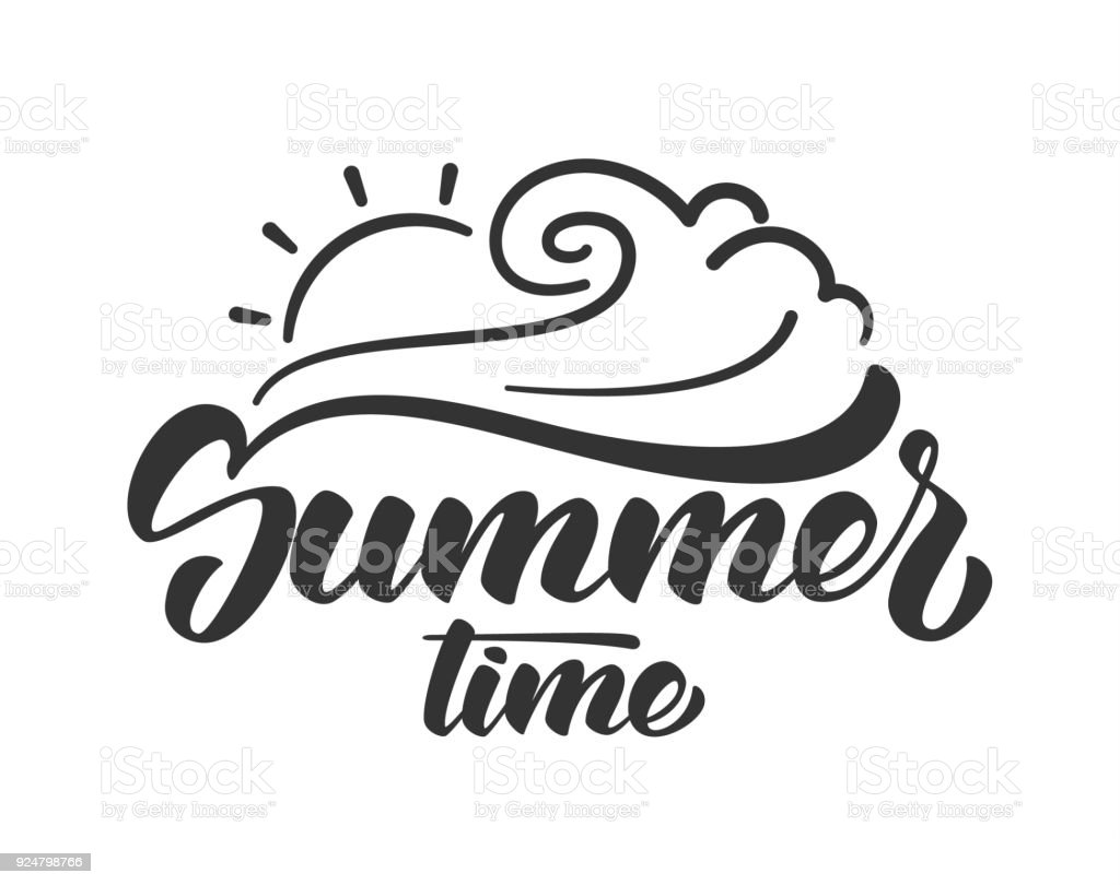Line Art Of Sun : Brush lettering composition of summer time with line sun and wave on