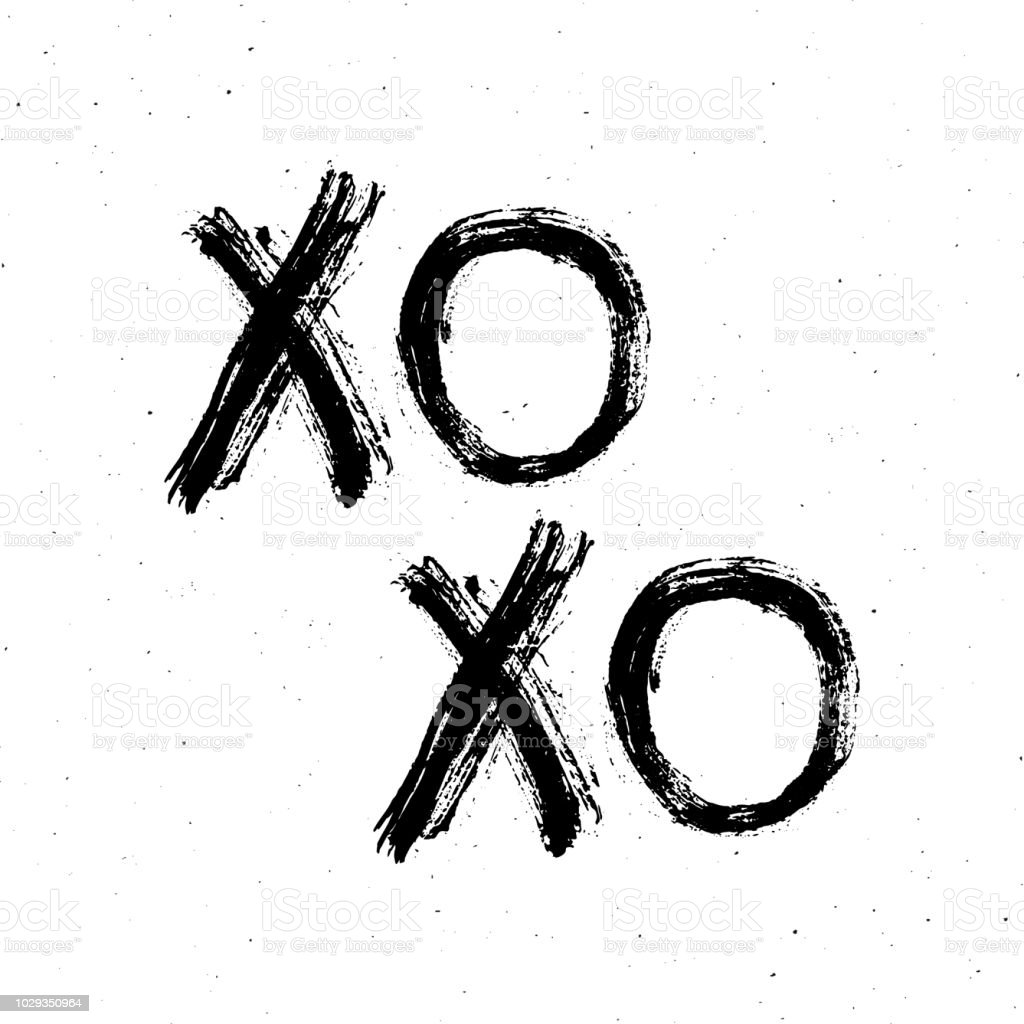 Xoxo Brush Lettering Sign Grunge Calligraphic Hugs And Kisses Phrase