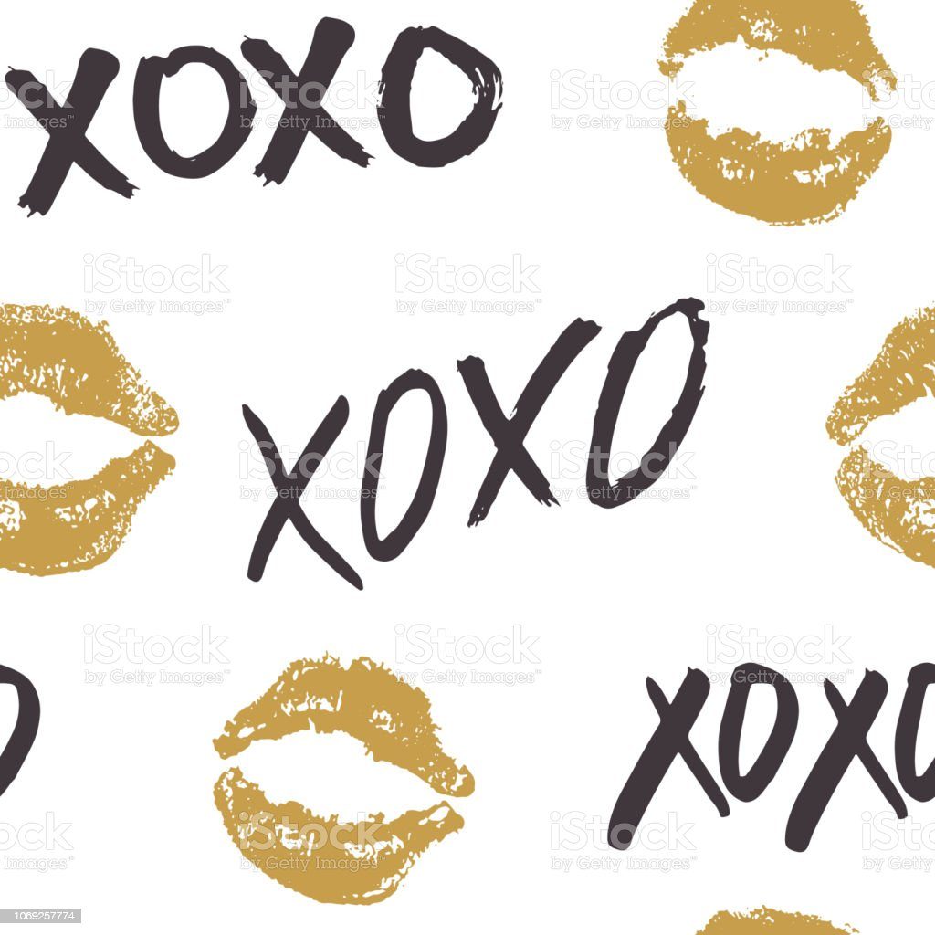 Xoxo Brush Lettering Signs Seamless Pattern Grunge