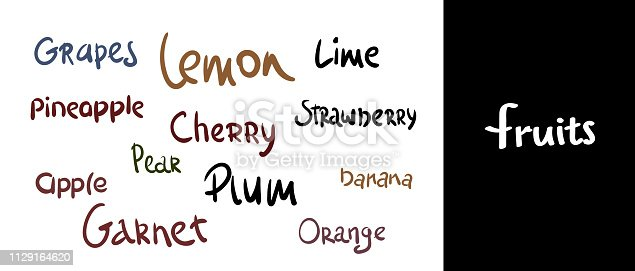 brush lettering. Vector hand drawn calligraphy fruits . Lettering elements, calligraphic names of products. set for farm, market, cafe design, menu and recipes. Healthy organic fresh food.