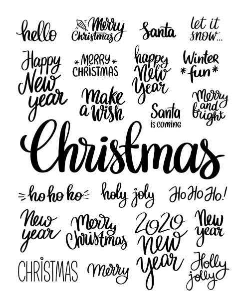 Brush lettering vector illustration of handwritten words Merry Christmas, New year, winter fun, ho ho ho, make a wish, Santa, holy joly and 2020 on white background Handwritten words for Christmas and New Year single word stock illustrations