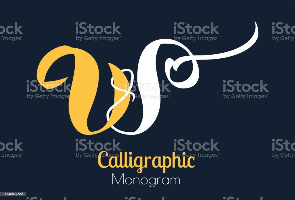 Ilustracion De Cepillo De Letras W Diseno De Monograma Y Mas Vectores Libres De Derechos De Amarillo Color Istock