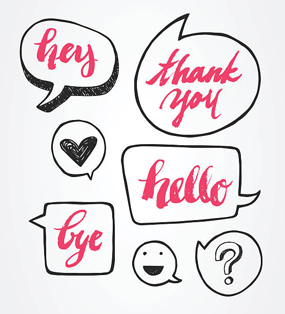 brush lettering with speech bubble set - hello stock-grafiken, -clipart, -cartoons und -symbole