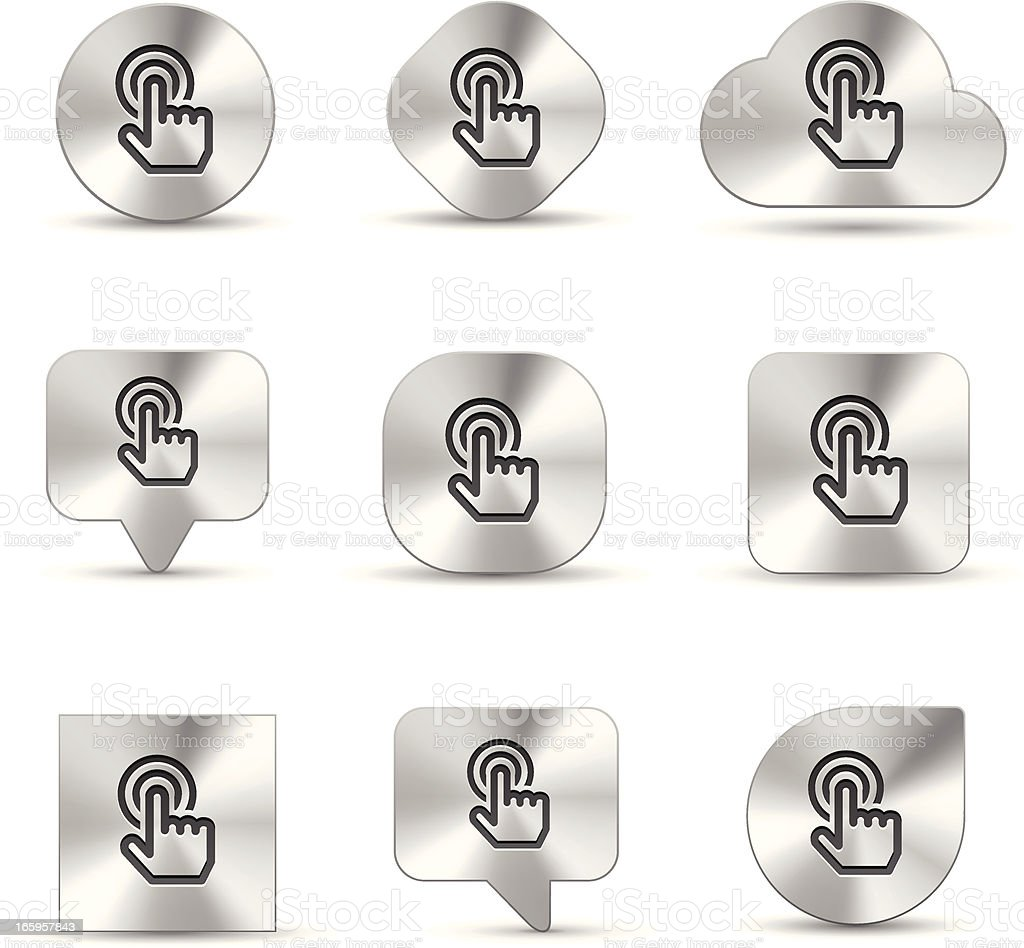 brush metal icon set of hand cursor click vector art illustration