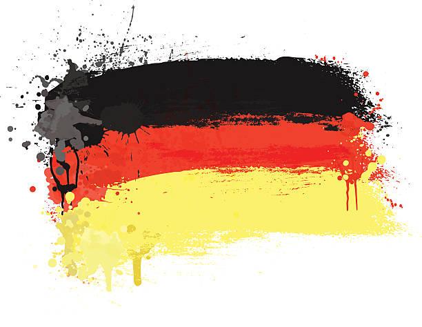 ilustraciones, imágenes clip art, dibujos animados e iconos de stock de cepillo de pintado resumen bandera de alemania - bandera alemana