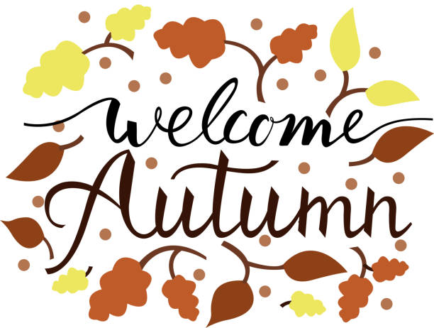brush phrase welcome autumn. Modern brush phrase welcome autumn. Background with the image of a leaf fall. Autumn with leaves. pacific dogwood stock illustrations