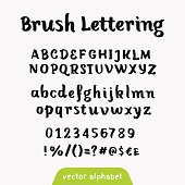 """Brush lettering"" retro vector alphabet"