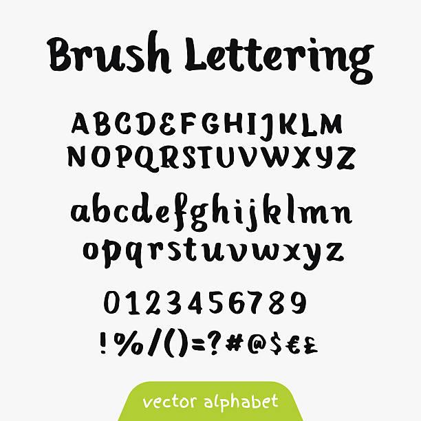 brush script schwarz vektor alphabet - hausgemacht stock-grafiken, -clipart, -cartoons und -symbole