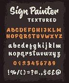 Brush script textured alphabet