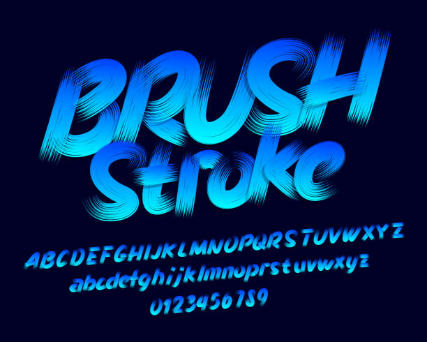 brush stroke alphabet font. uppercase and lowercase letters and numbers. - szczotkować stock illustrations