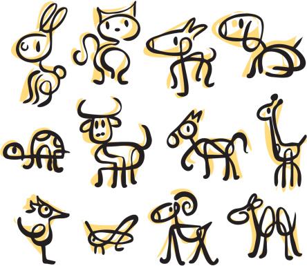 Brush stroke animals (vectors)