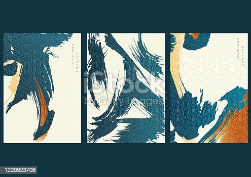 Fondo de trazo de pincel con vector de patrón de onda japonés. Plantilla artística en estilo oriental. Elementos abstractos.