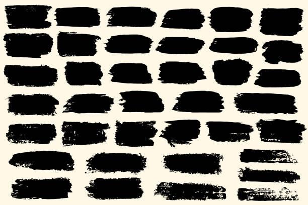 stockillustraties, clipart, cartoons en iconen met penseelstreekverzameling. hand getrokken zwarte inkt, verf, penseelstreekuitstrijkjes reeks. grunge ontwerp uit de vrije hand textuur elementen - spoorelement