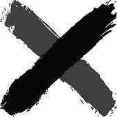 Brush stroke criss cross shape black delete sign
