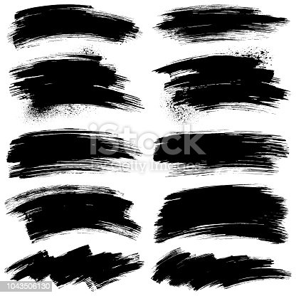 Set of paint brush strokes. Grunge paintbrush text boxes. Hand draw vector design elements. Isolated brush smears black on white.