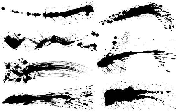 브러시 스트로크 삽화입니다. 그려진된 도형 손. - 흩뿌려진 stock illustrations