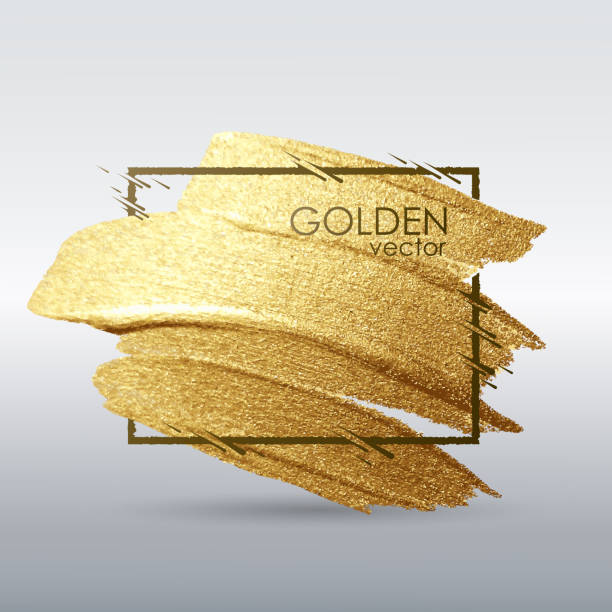 a brush stroke in the frame. gold shiny grunge texture.  white background. vector abstract image. a high resolution. - uderzać stock illustrations